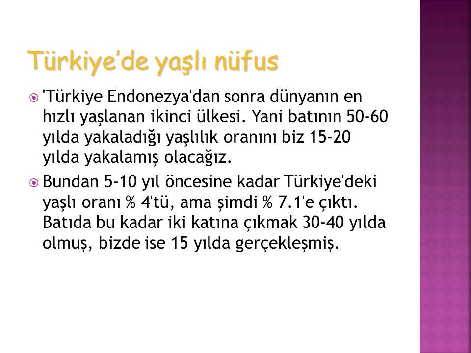 'Türkiye Endonezya'dan sonra dünyanın en hızlı yaşlanan ikinci ülkesi. Yani batının 50-60 yılda yakaladığı yaşlılık oranını biz 15-20 yılda yakalamı