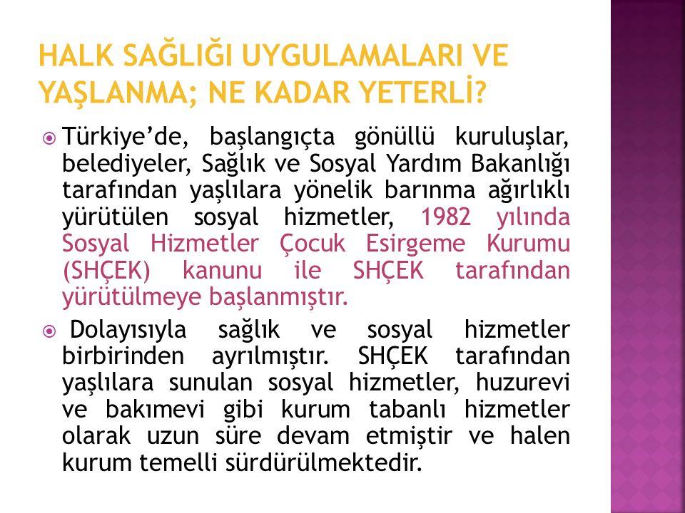  Türkiye'de, başlangıçta gönüllü kuruluşlar, belediyeler, Sağlık ve Sosyal Yardım Bakanlığı tarafından yaşlılara yönelik barınma ağırlıklı yürütülen