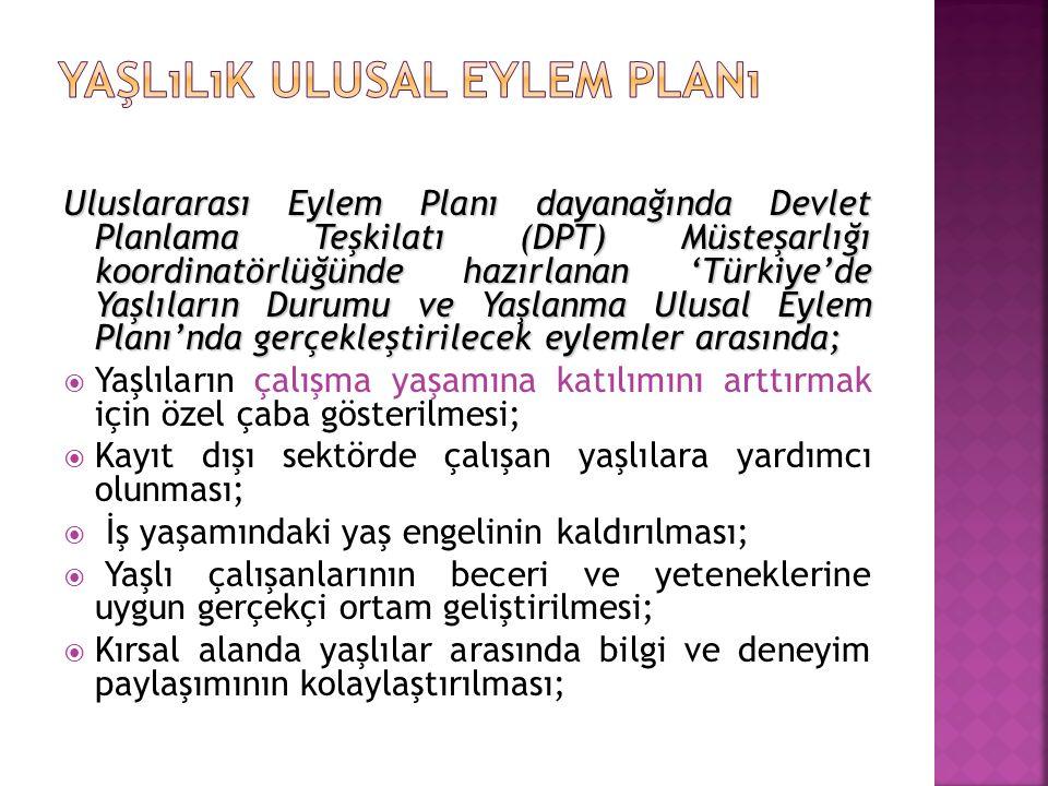 Uluslararası Eylem Planı dayanağında Devlet Planlama Teşkilatı (DPT) Müsteşarlığı koordinatörlüğünde hazırlanan 'Türkiye'de Yaşlıların Durumu ve Yaşla