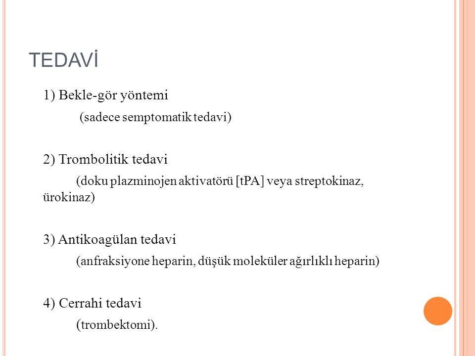 TEDAVİ 1) Bekle-gör yöntemi (sadece semptomatik tedavi) 2) Trombolitik tedavi (doku plazminojen aktivatörü [tPA] veya streptokinaz, ürokinaz) 3) Antik