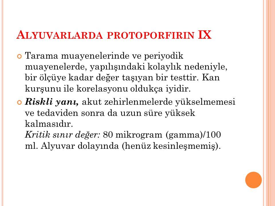 A LYUVARLARDA PROTOPORFIRIN IX Tarama muayenelerinde ve periyodik muayenelerde, yapılışındaki kolaylık nedeniyle, bir ölçüye kadar değer taşıyan bir testtir.