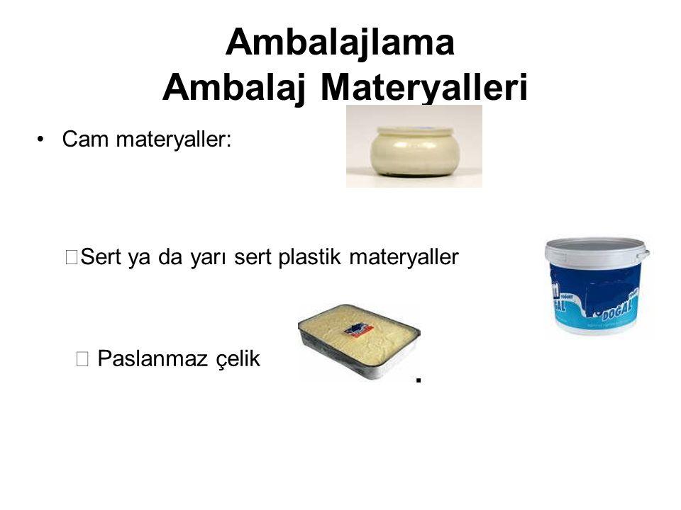 Ambalajlama Ambalaj Materyalleri Cam materyaller:  Sert ya da yarı sert plastik materyaller  Paslanmaz çelik