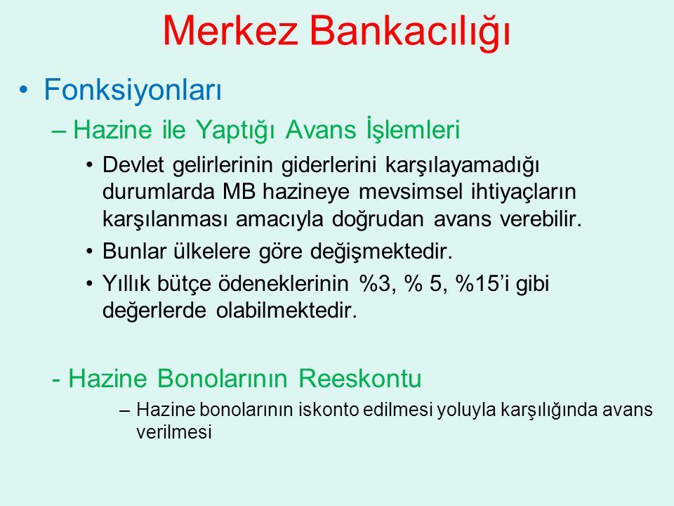 Merkez Bankacılığı Fonksiyonları –Hazine ile Yaptığı Avans İşlemleri Devlet gelirlerinin giderlerini karşılayamadığı durumlarda MB hazineye mevsimsel ihtiyaçların karşılanması amacıyla doğrudan avans verebilir.
