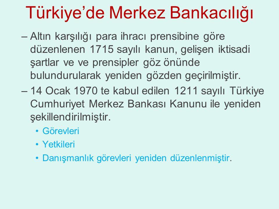 Türkiye'de Merkez Bankacılığı –Altın karşılığı para ihracı prensibine göre düzenlenen 1715 sayılı kanun, gelişen iktisadi şartlar ve ve prensipler göz önünde bulundurularak yeniden gözden geçirilmiştir.