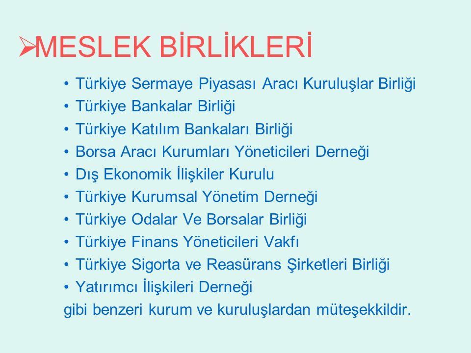  MESLEK BİRLİKLERİ Türkiye Sermaye Piyasası Aracı Kuruluşlar Birliği Türkiye Bankalar Birliği Türkiye Katılım Bankaları Birliği Borsa Aracı Kurumları Yöneticileri Derneği Dış Ekonomik İlişkiler Kurulu Türkiye Kurumsal Yönetim Derneği Türkiye Odalar Ve Borsalar Birliği Türkiye Finans Yöneticileri Vakfı Türkiye Sigorta ve Reasürans Şirketleri Birliği Yatırımcı İlişkileri Derneği gibi benzeri kurum ve kuruluşlardan müteşekkildir.