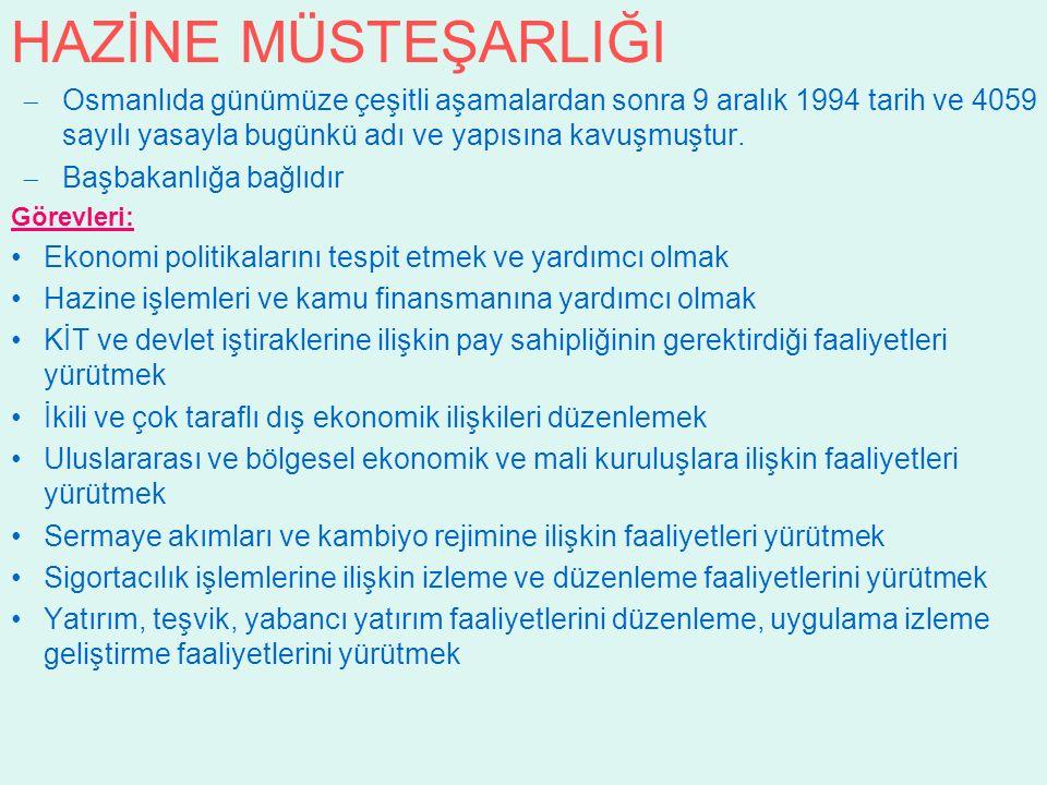 HAZİNE MÜSTEŞARLIĞI  Osmanlıda günümüze çeşitli aşamalardan sonra 9 aralık 1994 tarih ve 4059 sayılı yasayla bugünkü adı ve yapısına kavuşmuştur.  B