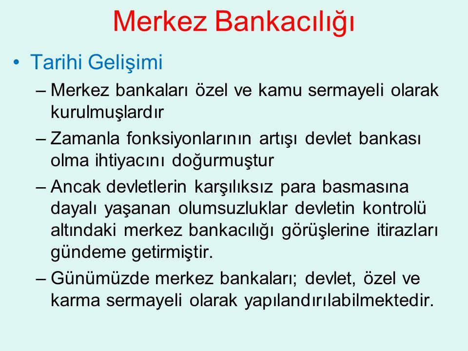 Merkez Bankacılığı Tarihi Gelişimi –Merkez bankaları özel ve kamu sermayeli olarak kurulmuşlardır –Zamanla fonksiyonlarının artışı devlet bankası olma