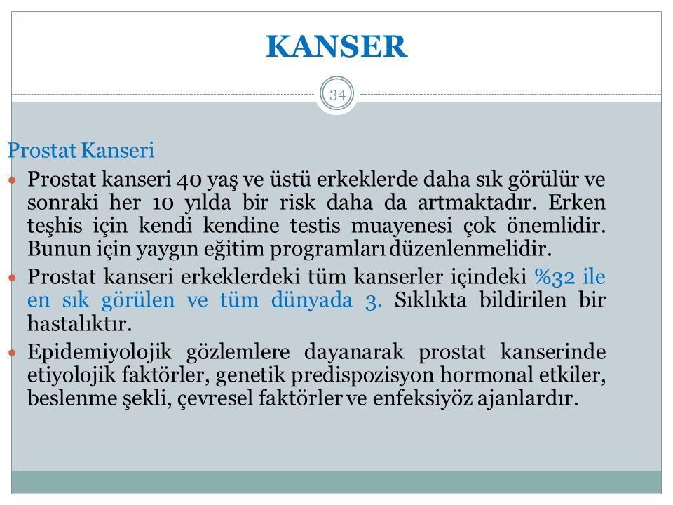 KANSER 34 Prostat Kanseri Prostat kanseri 40 yaş ve üstü erkeklerde daha sık görülür ve sonraki her 10 yılda bir risk daha da artmaktadır.