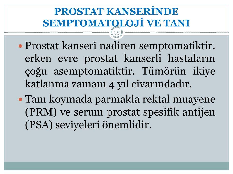 PROSTAT KANSERİNDE SEMPTOMATOLOJİ VE TANI 35 Prostat kanseri nadiren semptomatiktir.