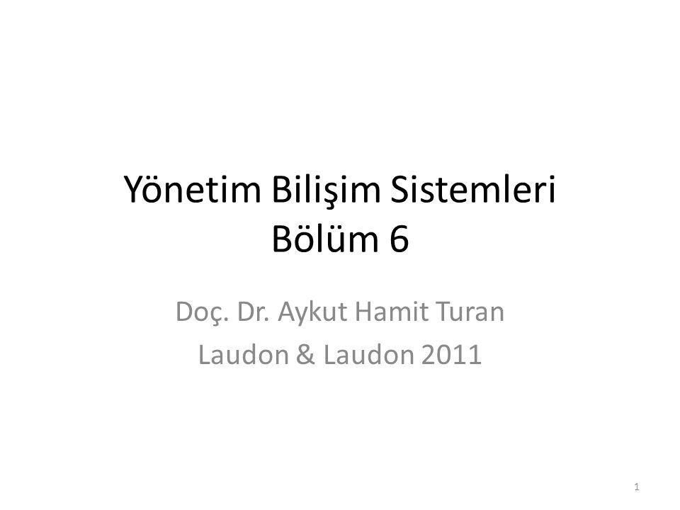 Yönetim Bilişim Sistemleri Bölüm 6 Doç. Dr. Aykut Hamit Turan Laudon & Laudon 2011 1