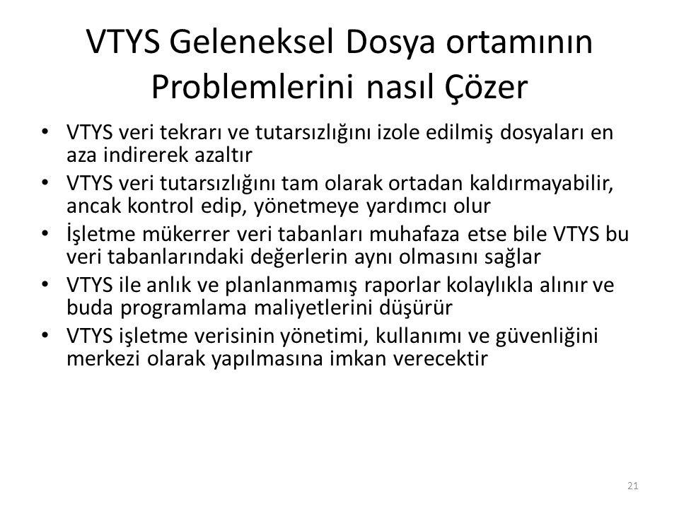 VTYS Geleneksel Dosya ortamının Problemlerini nasıl Çözer VTYS veri tekrarı ve tutarsızlığını izole edilmiş dosyaları en aza indirerek azaltır VTYS ve