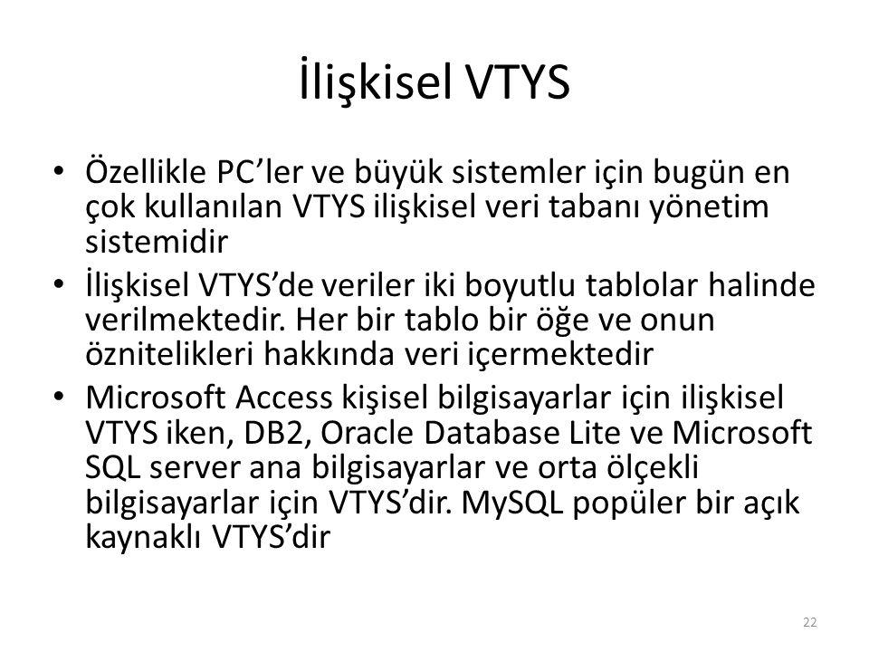 İlişkisel VTYS Özellikle PC'ler ve büyük sistemler için bugün en çok kullanılan VTYS ilişkisel veri tabanı yönetim sistemidir İlişkisel VTYS'de verile