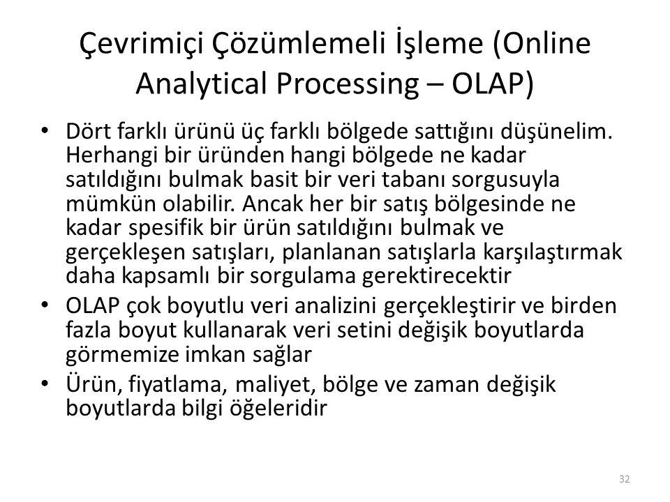 Çevrimiçi Çözümlemeli İşleme (Online Analytical Processing – OLAP) Dört farklı ürünü üç farklı bölgede sattığını düşünelim. Herhangi bir üründen hangi