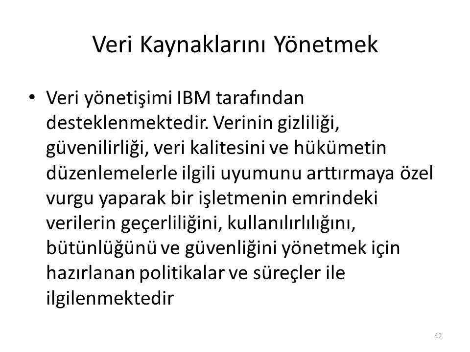 Veri Kaynaklarını Yönetmek Veri yönetişimi IBM tarafından desteklenmektedir. Verinin gizliliği, güvenilirliği, veri kalitesini ve hükümetin düzenlemel