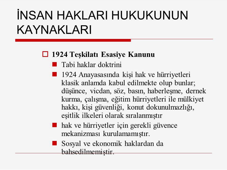İNSAN HAKLARI HUKUKUNUN KAYNAKLARI  1924 Teşkilatı Esasiye Kanunu Tabi haklar doktrini 1924 Anayasasında kişi hak ve hürriyetleri klasik anlamda kabu