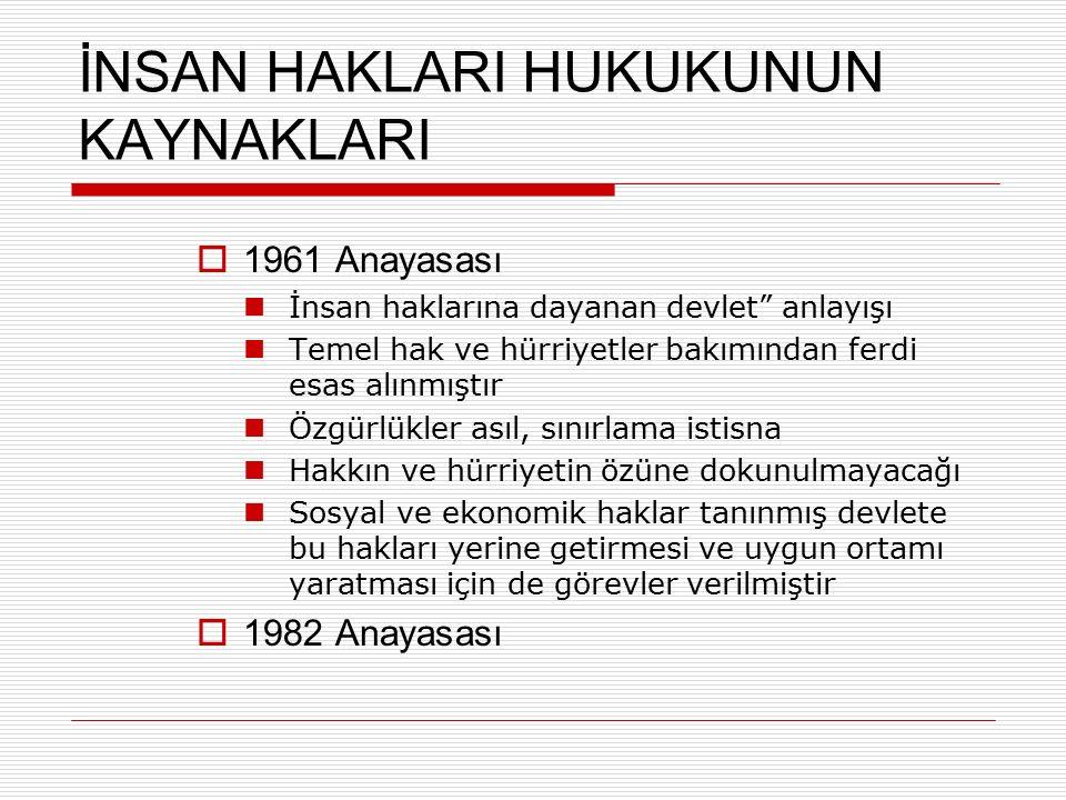 """İNSAN HAKLARI HUKUKUNUN KAYNAKLARI  1961 Anayasası İnsan haklarına dayanan devlet"""" anlayışı Temel hak ve hürriyetler bakımından ferdi esas alınmıştır"""