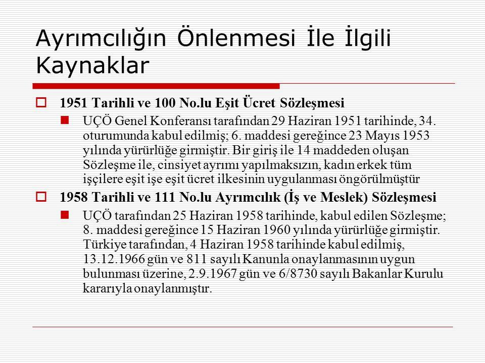 Ayrımcılığın Önlenmesi İle İlgili Kaynaklar  1951 Tarihli ve 100 No.lu Eşit Ücret Sözleşmesi UÇÖ Genel Konferansı tarafından 29 Haziran 1951 tarihind