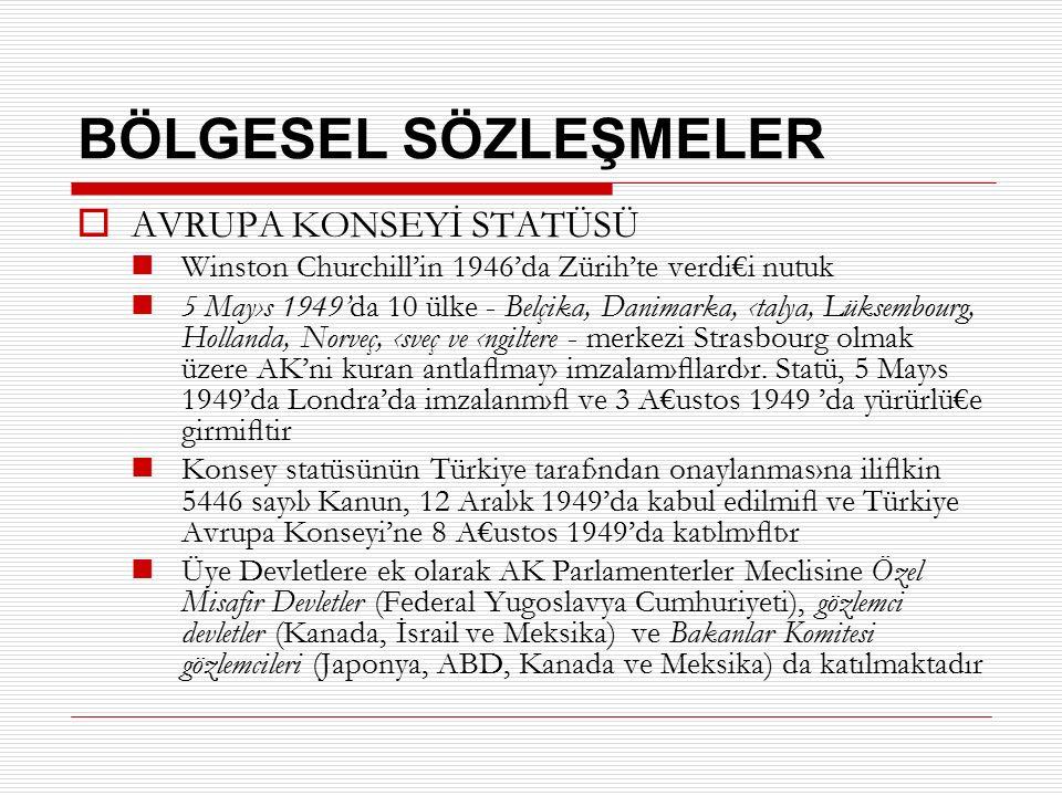BÖLGESEL SÖZLEŞMELER  AVRUPA KONSEYİ STATÜSÜ Winston Churchill'in 1946'da Zürih'te verdi€i nutuk 5 May›s 1949'da 10 ülke - Belçika, Danimarka, ‹talya