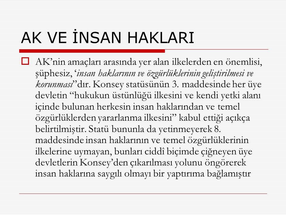 AK VE İNSAN HAKLARI  AK'nin amaçları arasında yer alan ilkelerden en önemlisi, şüphesiz, 'insan haklarının ve özgürlüklerinin geliştirilmesi ve korun