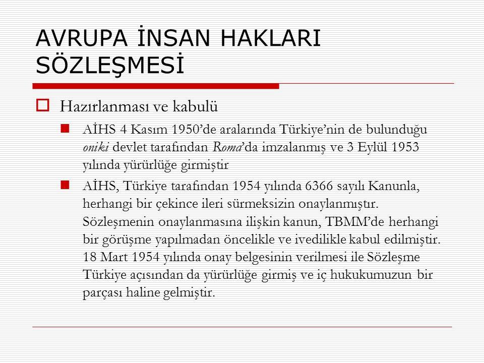 AVRUPA İNSAN HAKLARI SÖZLEŞMESİ  Hazırlanması ve kabulü AİHS 4 Kasım 1950'de aralarında Türkiye'nin de bulunduğu oniki devlet tarafından Roma'da imza