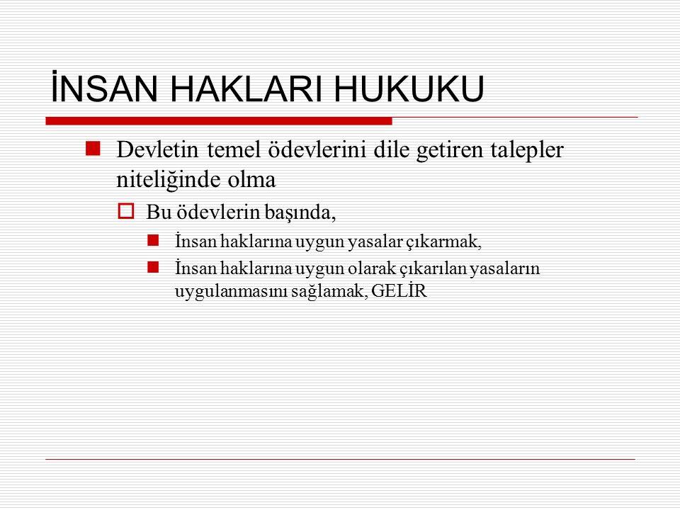 Mülteciler  İHEB'nin 14 ncü madde  Mültecilerin Hukukî Durumuna Dair Sözleşme 28 Temmuz 1951 yılında, Cenevre'de imzalanmış 22 Nisan 1954 tarihinde yürürlüğe girmiştir Cenevre Sözleşmesi olarak bilinmektedir Mülteci tanımı yapılmış, mültecilerin hakları ve standartlarının çağdaş bir listesi verilmiştir Türkiye, Sözleşmeyi 24 Ağustos 1951 yılında imzalamış ve 29 Ağustos 1961 yılında ise bazı çekincelerle onaylamıştır  Coğrafi sınırlama-Avrupa'da meydana gelen olaylarla sınırlı New York Protokolü 1967 tarihli  Mültecilerin Hukuki Durumuna Dair Sözleşme'deki, sadece 1 Ocak 1951 gününden önce meydana gelen olaylar sonucunda mültecilere uygulanma sınırı kaldırılmıştır.