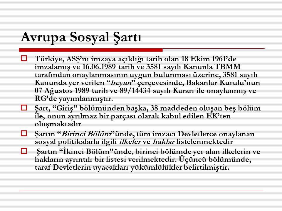 Avrupa Sosyal Şartı  Türkiye, ASŞ'nı imzaya açıldığı tarih olan 18 Ekim 1961'de imzalamış ve 16.06.1989 tarih ve 3581 sayılı Kanunla TBMM tarafından