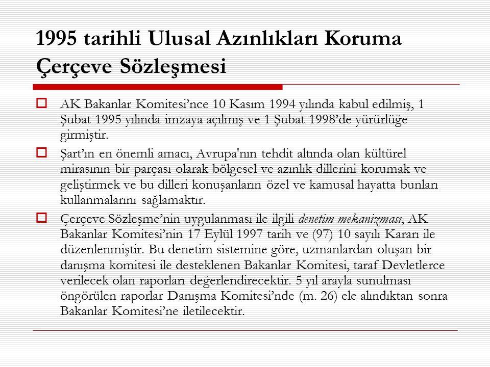 1995 tarihli Ulusal Azınlıkları Koruma Çerçeve Sözleşmesi  AK Bakanlar Komitesi'nce 10 Kasım 1994 yılında kabul edilmiş, 1 Şubat 1995 yılında imzaya