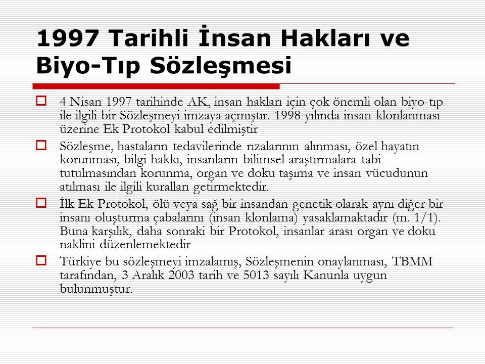 1997 Tarihli İnsan Hakları ve Biyo-Tıp Sözleşmesi  4 Nisan 1997 tarihinde AK, insan hakları için çok önemli olan biyo-tıp ile ilgili bir Sözleşmeyi i
