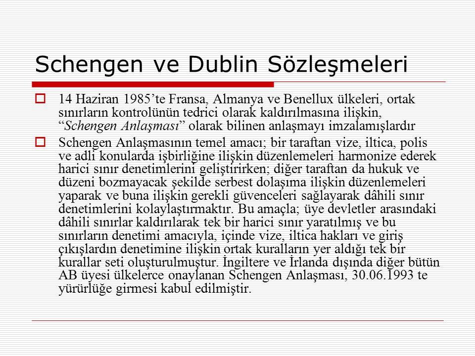 Schengen ve Dublin Sözleşmeleri  14 Haziran 1985'te Fransa, Almanya ve Benellux ülkeleri, ortak sınırların kontrolünün tedrici olarak kaldırılmasına