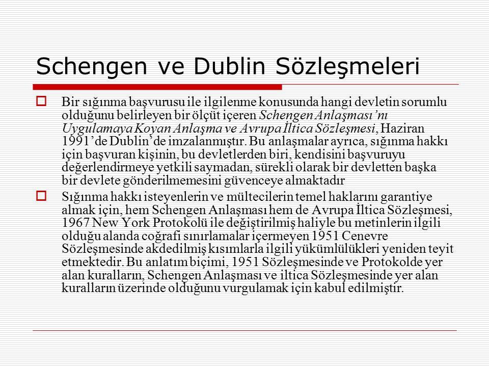 Schengen ve Dublin Sözleşmeleri  Bir sığınma başvurusu ile ilgilenme konusunda hangi devletin sorumlu olduğunu belirleyen bir ölçüt içeren Schengen A