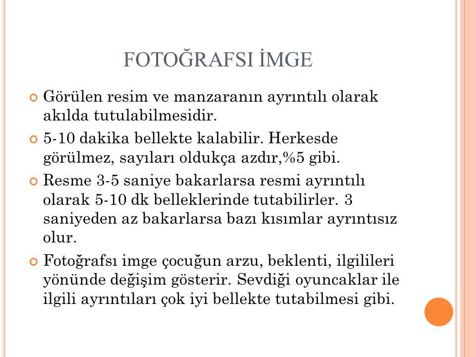 FOTOĞRAFSI İMGE Görülen resim ve manzaranın ayrıntılı olarak akılda tutulabilmesidir. 5-10 dakika bellekte kalabilir. Herkesde görülmez, sayıları oldu