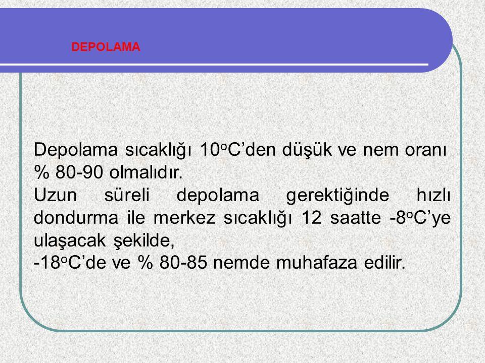 Depolama sıcaklığı 10 o C'den düşük ve nem oranı % 80-90 olmalıdır. Uzun süreli depolama gerektiğinde hızlı dondurma ile merkez sıcaklığı 12 saatte -8