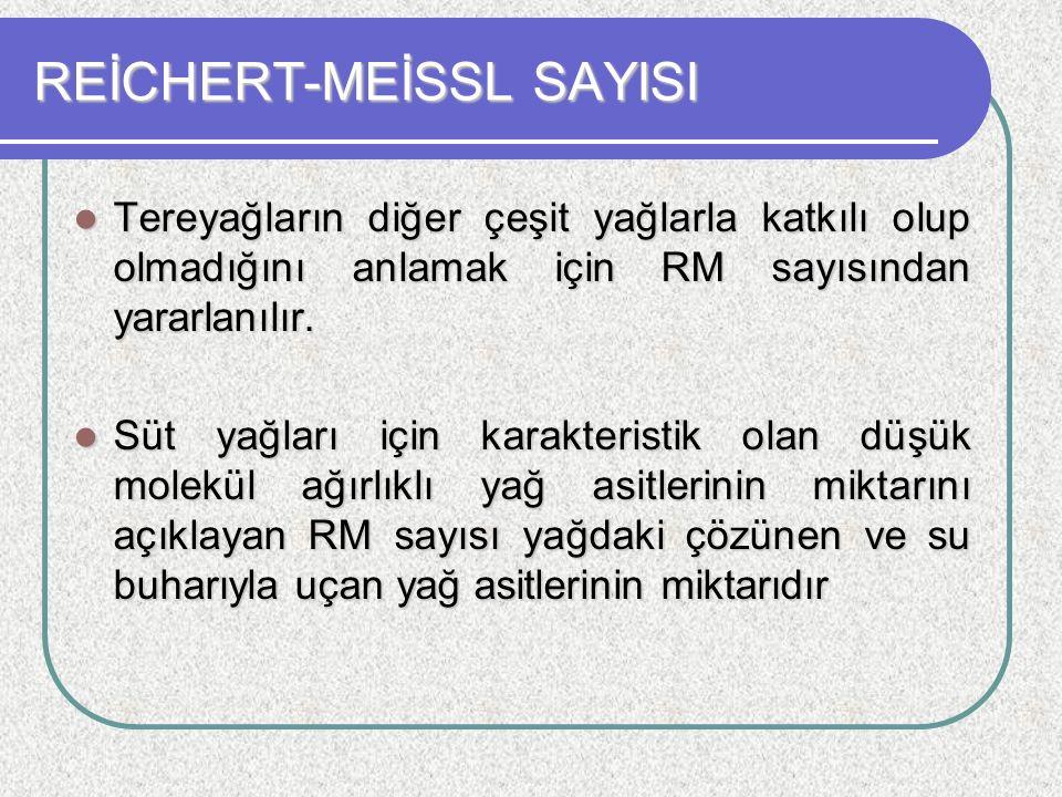 REİCHERT-MEİSSL SAYISI Tereyağların diğer çeşit yağlarla katkılı olup olmadığını anlamak için RM sayısından yararlanılır. Tereyağların diğer çeşit yağ