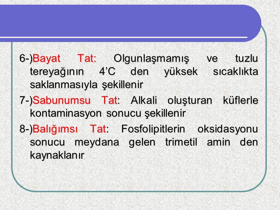 6-)Bayat Tat: Olgunlaşmamış ve tuzlu tereyağının 4'C den yüksek sıcaklıkta saklanmasıyla şekillenir 7-)Sabunumsu Tat: Alkali oluşturan küflerle kontam