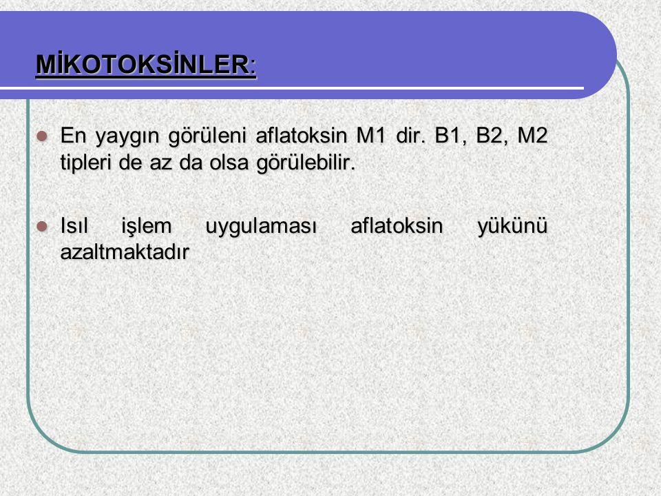 MİKOTOKSİNLER: En yaygın görüleni aflatoksin M1 dir. B1, B2, M2 tipleri de az da olsa görülebilir. En yaygın görüleni aflatoksin M1 dir. B1, B2, M2 ti