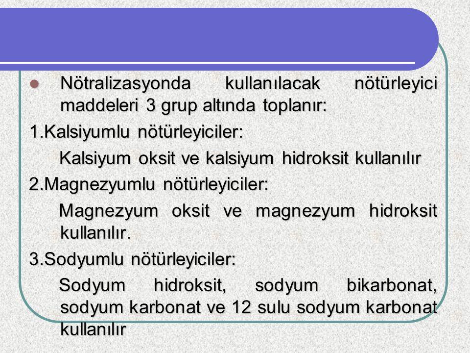 Nötralizasyonda kullanılacak nötürleyici maddeleri 3 grup altında toplanır: Nötralizasyonda kullanılacak nötürleyici maddeleri 3 grup altında toplanır