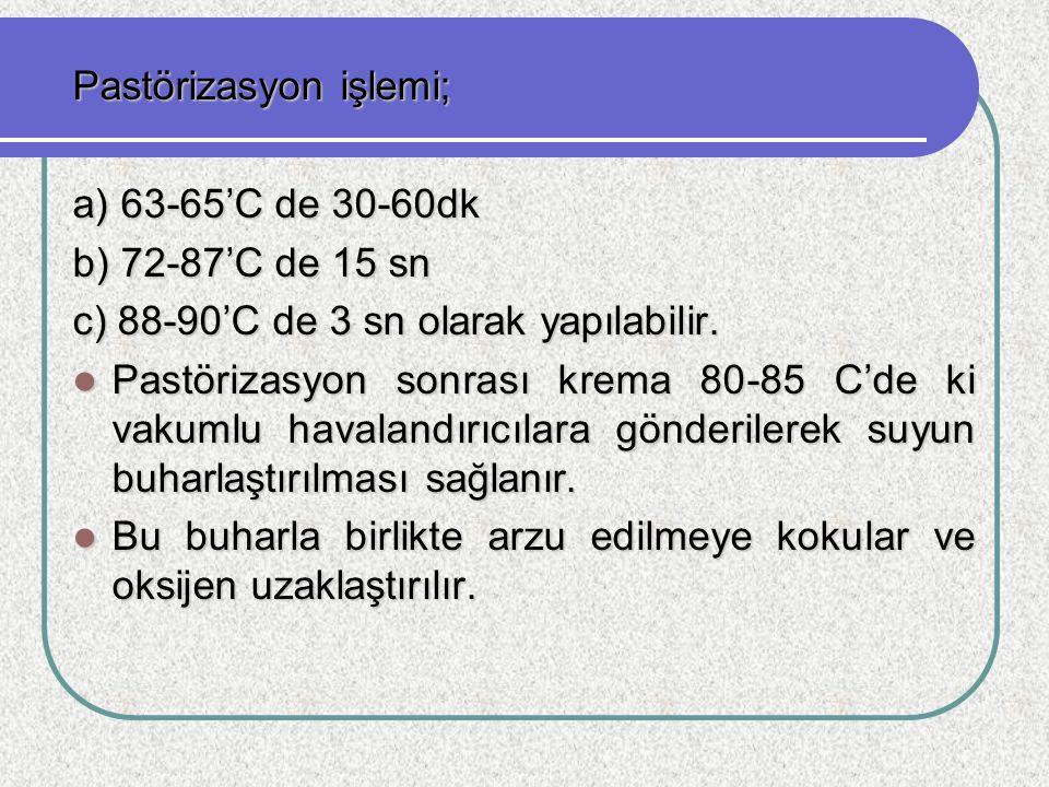 Pastörizasyon işlemi; a) 63-65'C de 30-60dk b) 72-87'C de 15 sn c) 88-90'C de 3 sn olarak yapılabilir. Pastörizasyon sonrası krema 80-85 C'de ki vakum