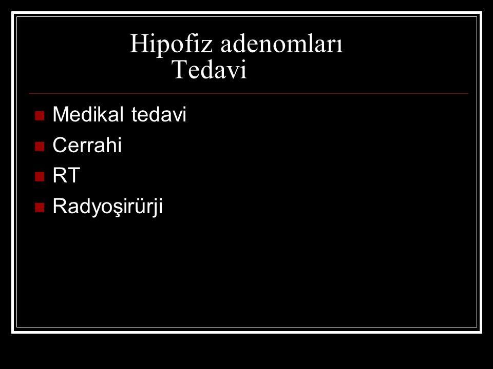 Hipofiz adenomları Tedavi Medikal tedavi Cerrahi RT Radyoşirürji