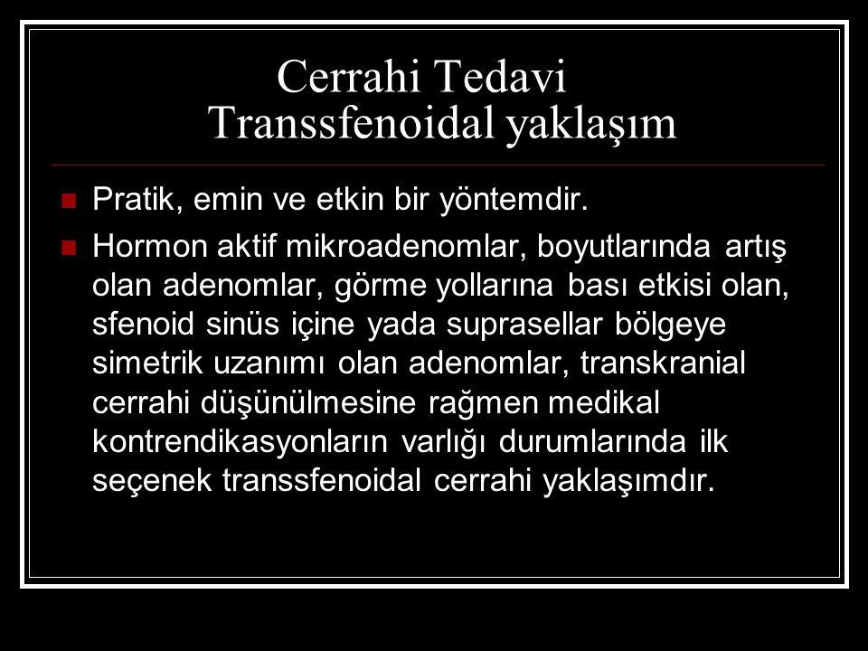 Cerrahi Tedavi Transsfenoidal yaklaşım Pratik, emin ve etkin bir yöntemdir. Hormon aktif mikroadenomlar, boyutlarında artış olan adenomlar, görme yoll