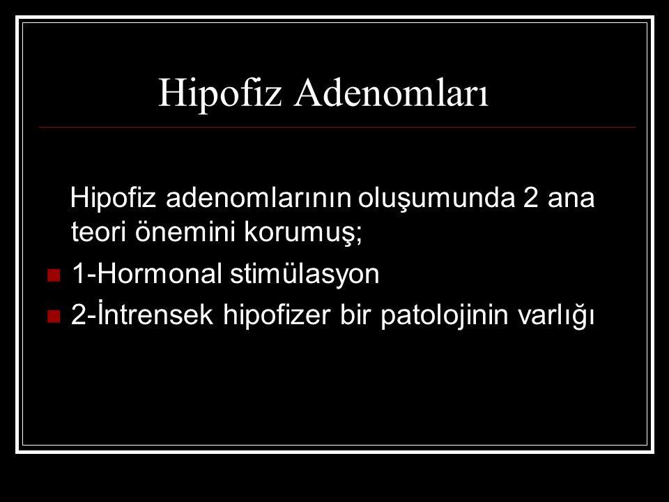 Hipofiz Adenomları Hipofiz adenomlarının oluşumunda 2 ana teori önemini korumuş; 1-Hormonal stimülasyon 2-İntrensek hipofizer bir patolojinin varlığı