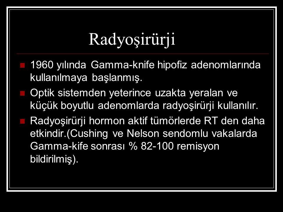 Radyoşirürji 1960 yılında Gamma-knife hipofiz adenomlarında kullanılmaya başlanmış. Optik sistemden yeterince uzakta yeralan ve küçük boyutlu adenomla