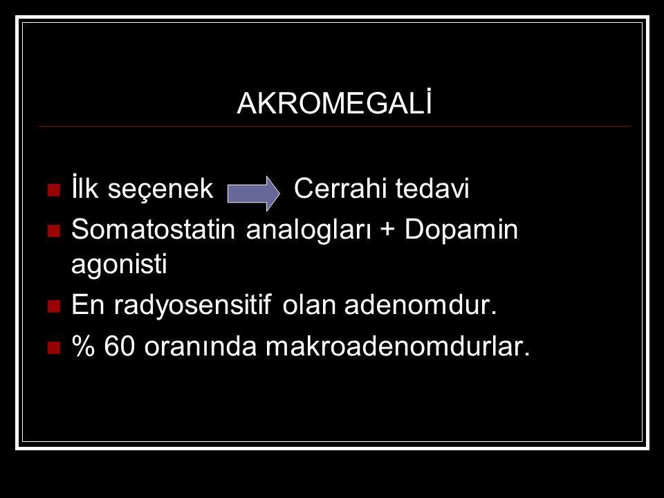AKROMEGALİ İlk seçenek Cerrahi tedavi Somatostatin analogları + Dopamin agonisti En radyosensitif olan adenomdur. % 60 oranında makroadenomdurlar.