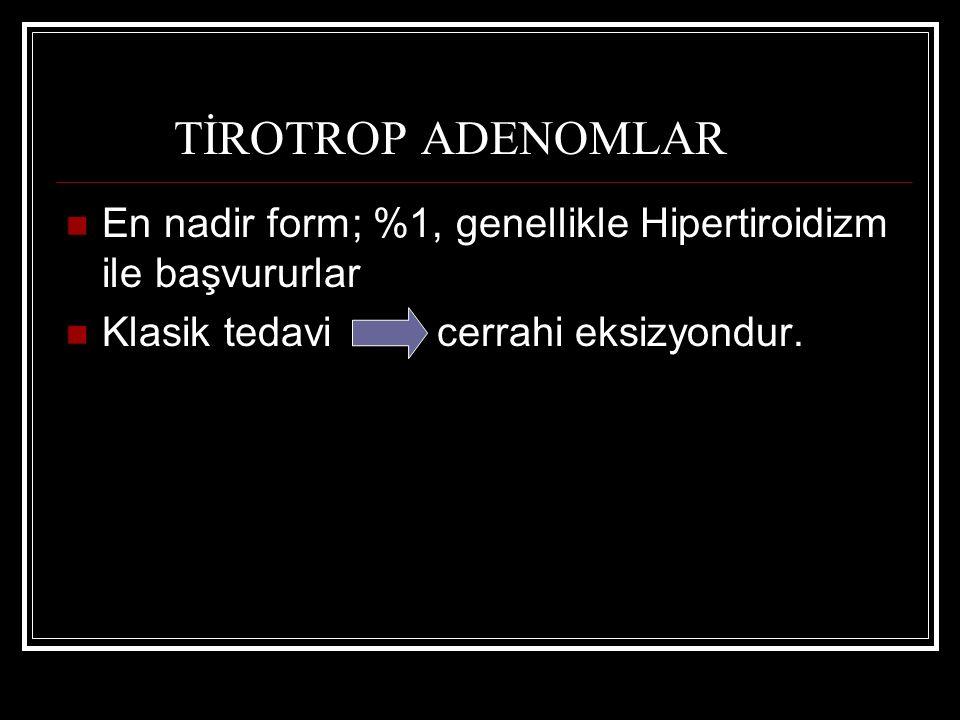 TİROTROP ADENOMLAR En nadir form; %1, genellikle Hipertiroidizm ile başvururlar Klasik tedavi cerrahi eksizyondur.