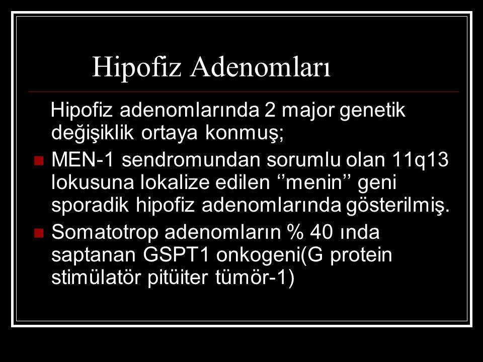 Hipofiz Adenomları Hipofiz adenomlarında 2 major genetik değişiklik ortaya konmuş; MEN-1 sendromundan sorumlu olan 11q13 lokusuna lokalize edilen ''me
