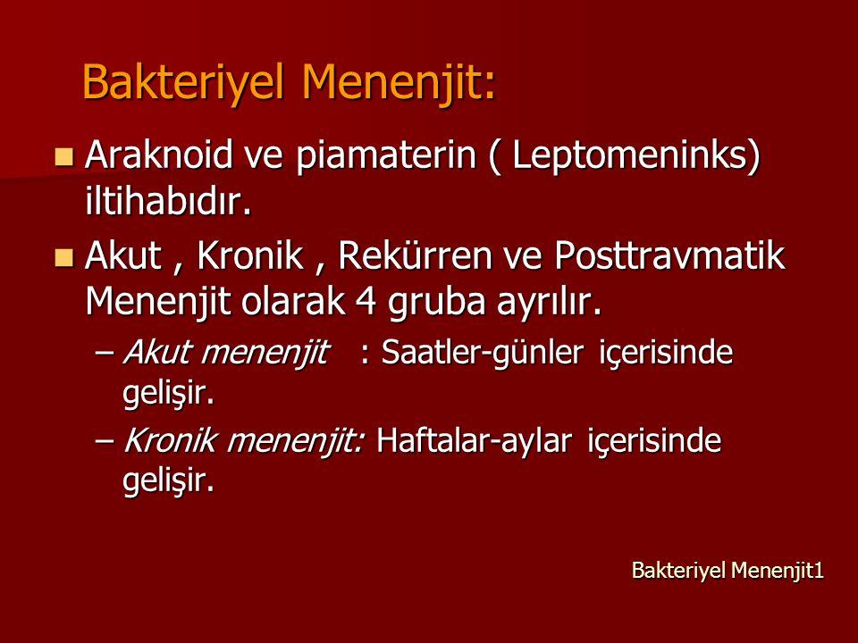 Bakteriyel Menenjit: Araknoid ve piamaterin ( Leptomeninks) iltihabıdır. Araknoid ve piamaterin ( Leptomeninks) iltihabıdır. Akut, Kronik, Rekürren ve