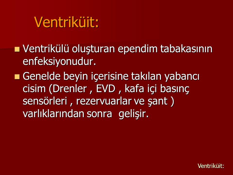 Ventriküit: Ventrikülü oluşturan ependim tabakasının enfeksiyonudur. Ventrikülü oluşturan ependim tabakasının enfeksiyonudur. Genelde beyin içerisine
