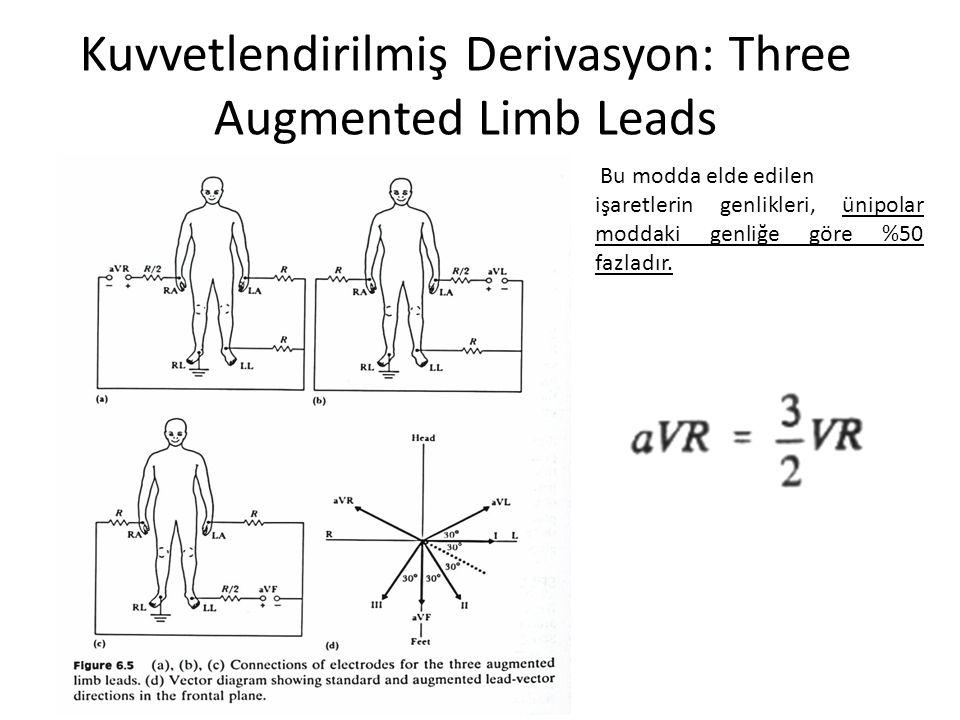 Kuvvetlendirilmiş Derivasyon: Three Augmented Limb Leads Bu modda elde edilen işaretlerin genlikleri, ünipolar moddaki genliğe göre %50 fazladır.