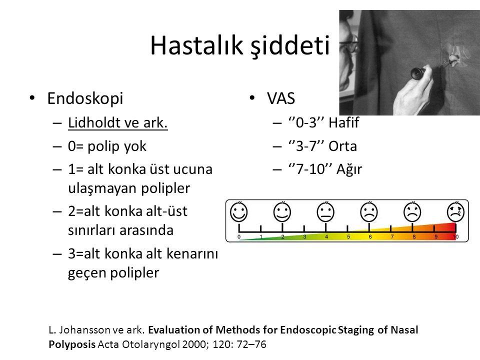 Hastalık şiddeti Endoskopi – Lidholdt ve ark. – 0= polip yok – 1= alt konka üst ucuna ulaşmayan polipler – 2=alt konka alt-üst sınırları arasında – 3=