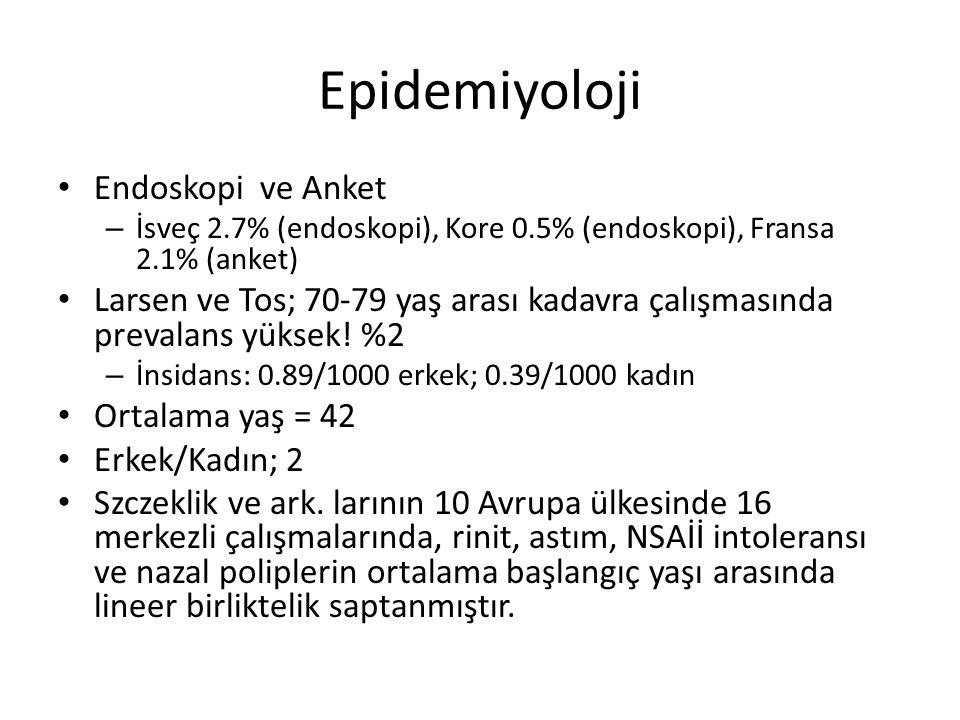 2 semptom: şikayetlerden biri burun tıkanıklığı veya rengi değişmiş burun akıntısı olmalı -/+ frontal ağrı, baş ağrısı -/+ koku bozukluğu Endoskopik KBB muayenesi (polip evresi) PNS BT Ko-morbiditelerin tanı ve tedavisi EPOS 2012 Rehberi Tedavi algoritması Hafif VAS 0-3 Endoskopide ciddi mukozal hastalık yok Orta VAS > 3-7 Endoskopide mukoza hastalığı mevcut İleri VAS > 7-10 Endoskopide mukoza hastalığı mevcut Topikal steroid tedavisi Nazal irrigasyon Topikal steroid tedavisi Nazal irrigasyon Doz artışı Doksisiklin Topikal steroid tedavisi Nazal irrigasyon Oral steroid (kısa dönem ) 3 ay sonra tekrar değerlendirme İyileşme Topikal steroid ve nazal irrigasyona devam 6 ayda bir kontrol İyileşme yok 1 ay sonra tekrar değerlendirme İyileşmeİyileşme yok BT Cerrahi Takip + nazal irrigasyon +topikal ±oral steroid ± uzun dönem antibiyotik Diğer tanıları göz önünde bulundur: Unilateral semptomlar Burun kanaması Kabuklanma Kakosmi Orbital semptomlar: Periorbital ödem Glob yerdeğişimi Cift görme veya bulanık görme Oftalmopleji İleri frontal başağrısı Frontal bölgede şişlik Menenjit veya fokal nörolojik bulgular Acil değerlendirme ve müdahele