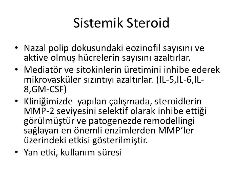 Sistemik Steroid Nazal polip dokusundaki eozinofil sayısını ve aktive olmuş hücrelerin sayısını azaltırlar. Mediatör ve sitokinlerin üretimini inhibe
